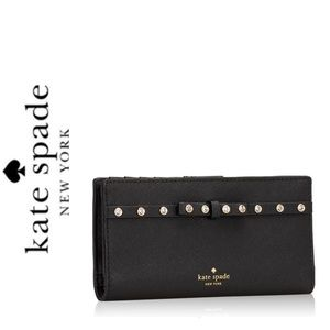 NWT Kate Spade leather jeweled wallet black